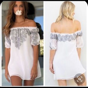 For Love and Lemons Sicily off shoulders mini dress in Ivory